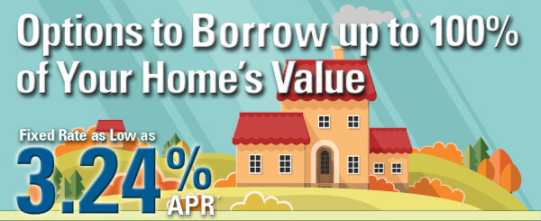Borrow up to 100% of your home's value